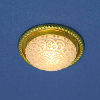 CL-294 Round Brass Ceiling Fixture with Textured Shade