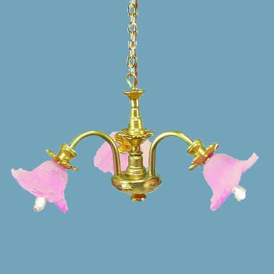 Three arm chandelier. Violet/frost shades.