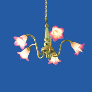 CH-330 Brass 5 Arm Chandelier with Floral Shades