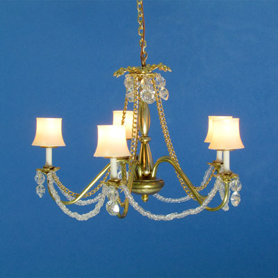 CH-552 Five-Arm Brass & Crystal Chandelier