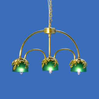 CH-655 Three Light In-Line Brass Chandelier with Green Shades