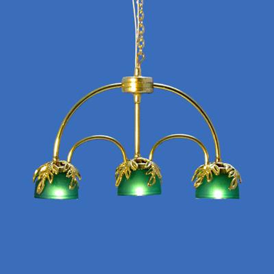 CH-655-LED Three Light In-Line Brass Chandelier