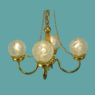CH-B Four-Arm Brass Chandelier with Chain Accent