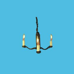 HSCH-101 Three-Arm Black Candle Chandelier