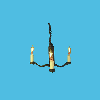 HSCH-101 Three-Arm Black Candle Chandelier