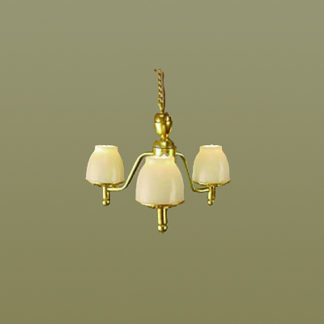 HSCH-112 Three-Arm Brass Chandelier - half-inch scale